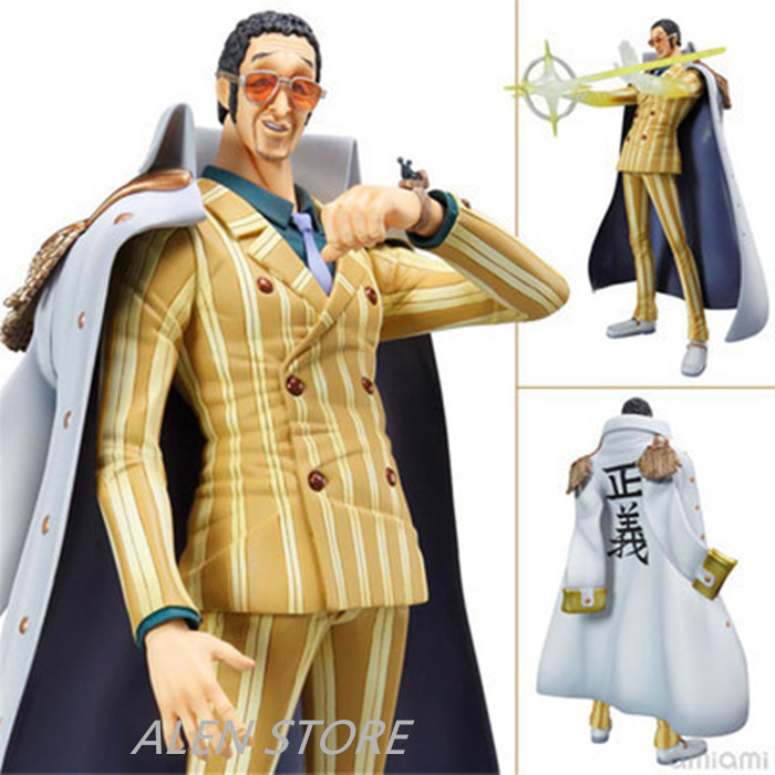 ALEN 24CM Anime One Piece Marine Admiral Borsalino Boxed 24cm PVC Action Figure Collection Model Doll Toy Gift free shipping 10 anime one punch man saitama broken ground ver boxed 24cm pvc action figure collection model doll toy gift