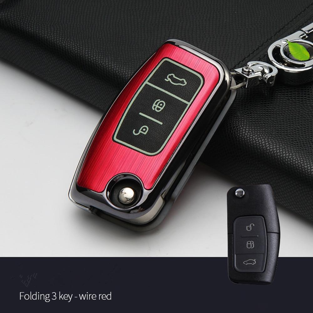 Auto schlüssel fall keychain Zubehör Auto Schlüssel Fall Abdeckung für Ford Fiesta Focus Mondeo Ecosport Kuga 2016