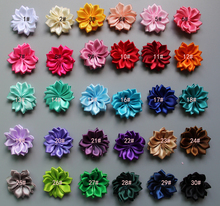 wholesale 1.6 mini satin ribbon multilayers flowers Girls Hair Accessories 30colors in stock  free shipping 500pcs/lot