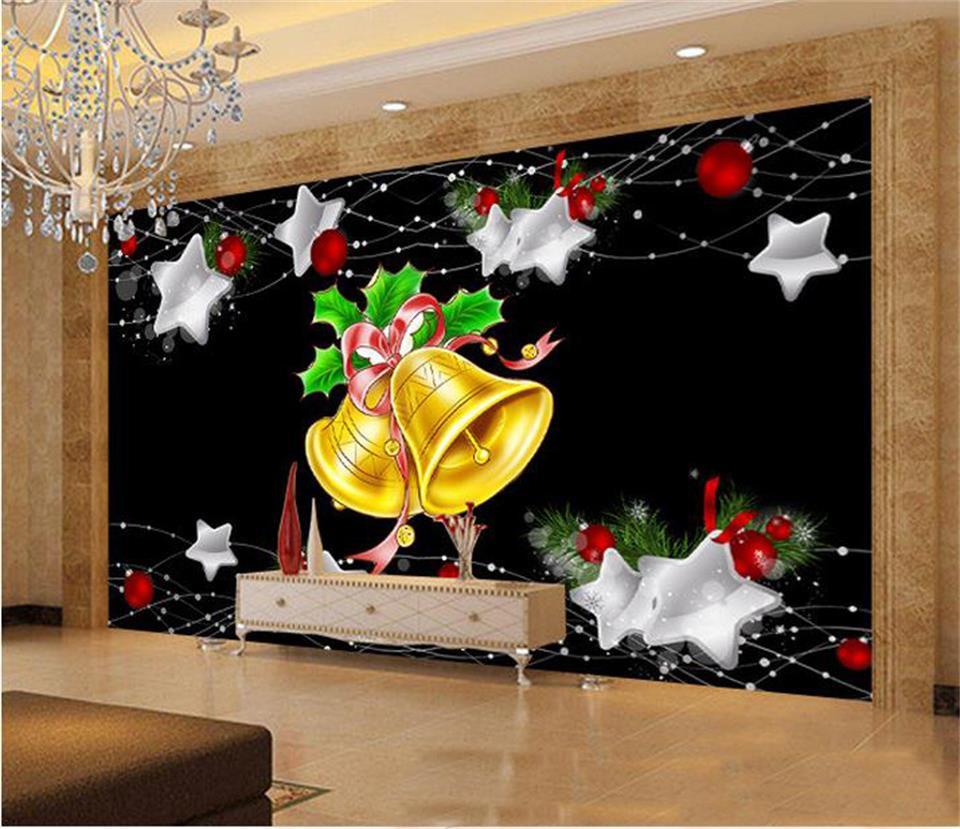 US $14 7 OFF 3D Foto Wallpaper Ruang Tamu Mural Non Woven Stiker Natal Lonceng Kecil Lukisan Gambar Sofa Televisi Latar Belakang