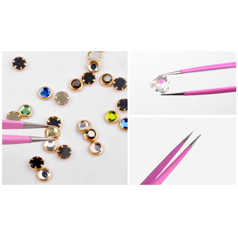 Stainless Steel Anti-Static Tweezers For Nail Art Accessories KG66