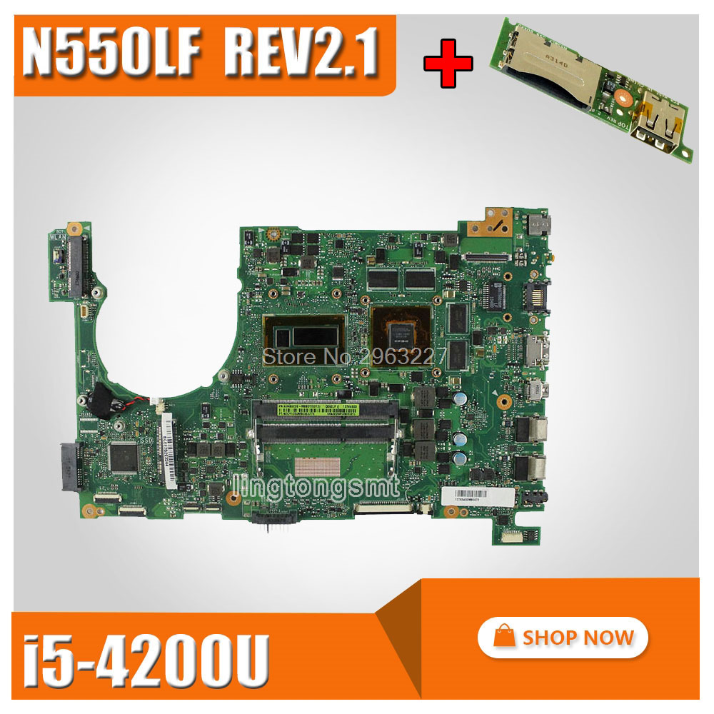 send board N550LF Laptop Motherboard for ASUS Q550LF N550LF Motherboard rev2 1 With i5 4200U N550LF