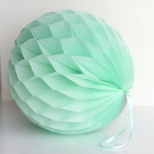 10 pcs/lot Free Shipping 15cm(6 inch) Light Green/ Mint Green Tissue Paper honeycomb ball Wedding Party Garden Decorations