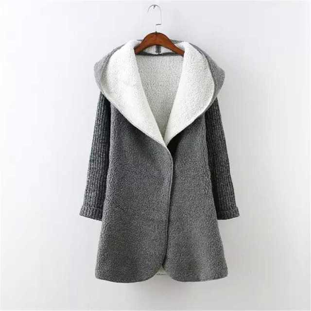 Free Shipping womens autumn new size hooded Cardigan lambs wool ...