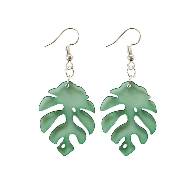 Green Leaf Acrylic Dangle Earrings For Women Fashion Chic Monstera Leaf Transparent Drop Earring Party Jewelry Gift