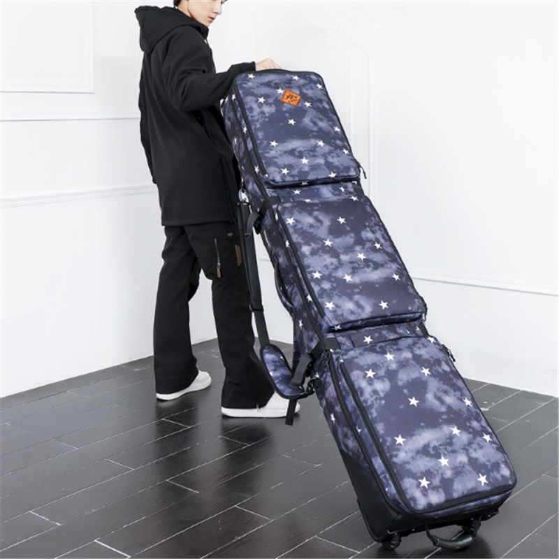 Ski Snowboard Bag With Wheels 152CM 165CM Single Double Plate Rims Skis Package Single Board Package Roller Large Capacity Bag цена