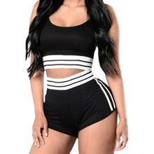 Women Fashion Striped Two Piece Set Sexy Spaghetti Strap Top And Shorts Set Casual Summer Women 2 piece set 2019 New все цены