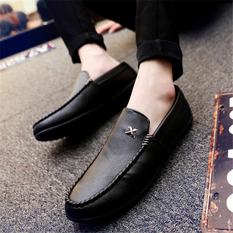 Leather Men Casual Shoes Luxury Brand 2019 Mens Loafers Moccasins Breathable Slip on Driving Shoes Slip-On Soft Flat Shoes new