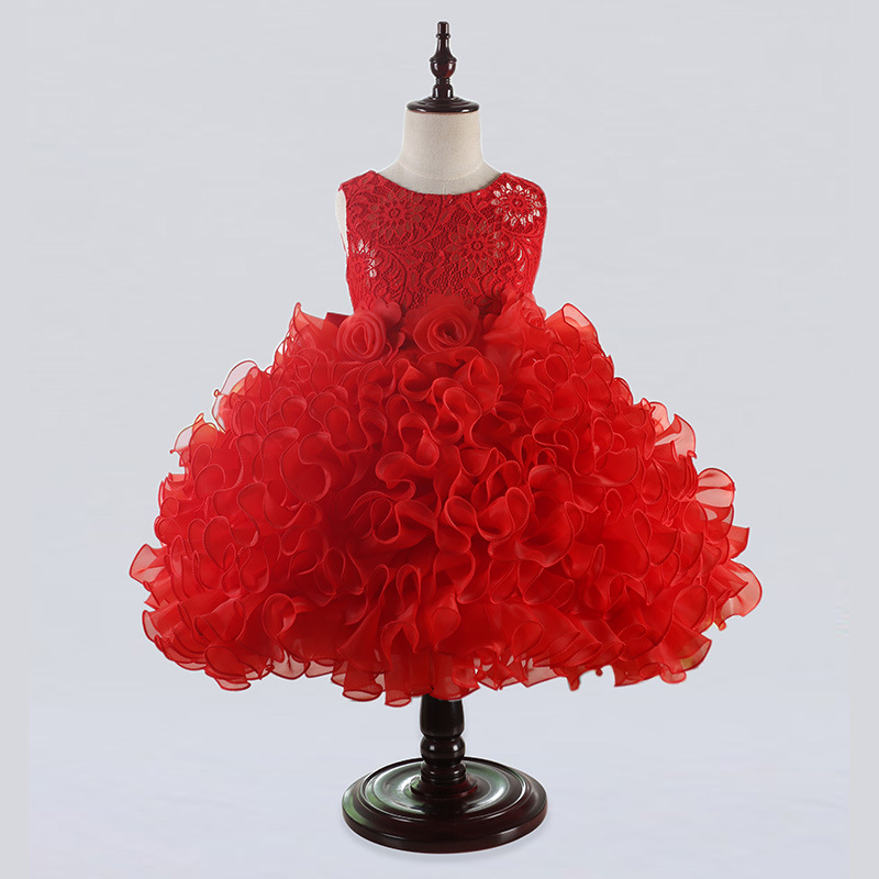 New Style Baby Girl Dress for Summer Size 2-12 Years Girls Flower Tutu Dress for Wedding and Party Kids Princess Costume 4B05 6 size new 2014 summer baby