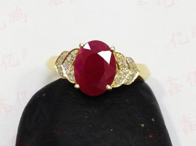18 k gold inlaid natural Burmese ruby ring female 1.6 carats luxury and generous Birthday gift 5