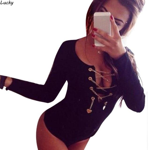 Knit Rompers Womens Jumpsuit 2015 Sexy Lady V Neck Long Sleeve Bodycon Bandage Jumpsuit Bodysuit Slim Short Cotton Romper