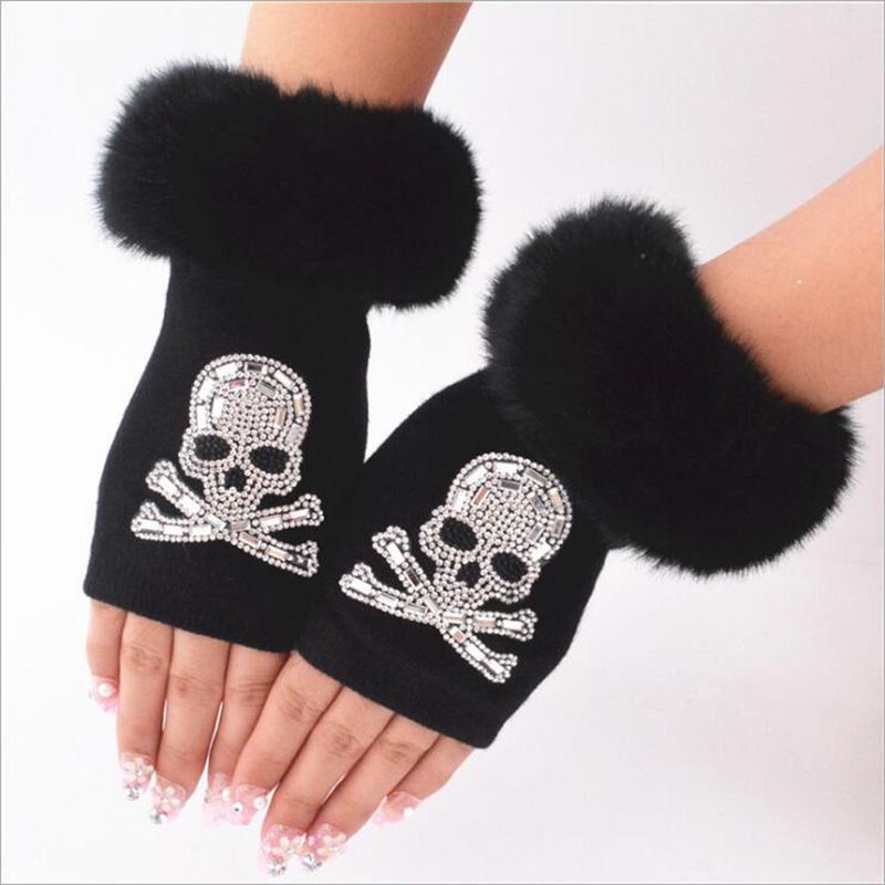 Women Cartoon Animals Fox Fingerless Dance Gloves Winter Warm Short Plush Diamonds Sequins Skull Fingerless Knitted Gloves G102