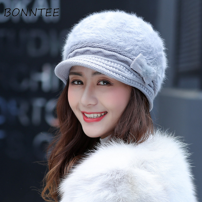 Winter New   Beanie   Lovely Bow Knitted Warm Chic Women Korean Style Elegant Casual Womens Simple   Skullies     Beanies   Solid Fashion