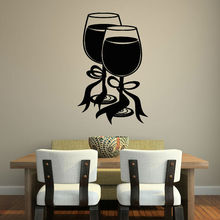 Two Glasses Of Wine With Bow Ribbon Wall Sticker Home Decor Living Room Vinyl Art Wall Decal For Lounge