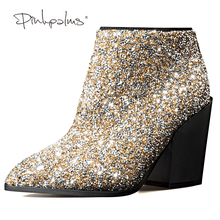 Pink Palms women winter snow boots fashion high heels pointed toe shoes mixed color crystal boots rhinestone ankle boots