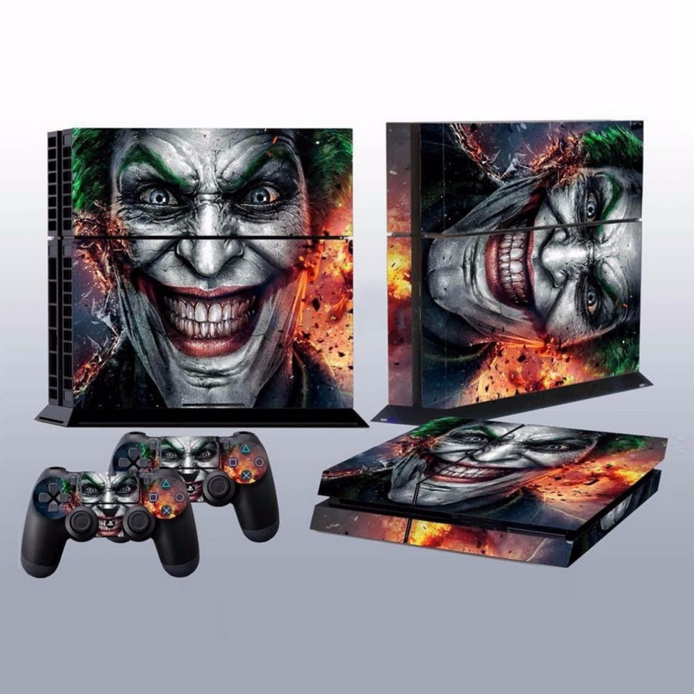 free shipping Joker Vinly Skin Sticker Clown Gamepad Stickers for Sony For PS4 For PlayStation 4 2 Controller Skins Wholesale image