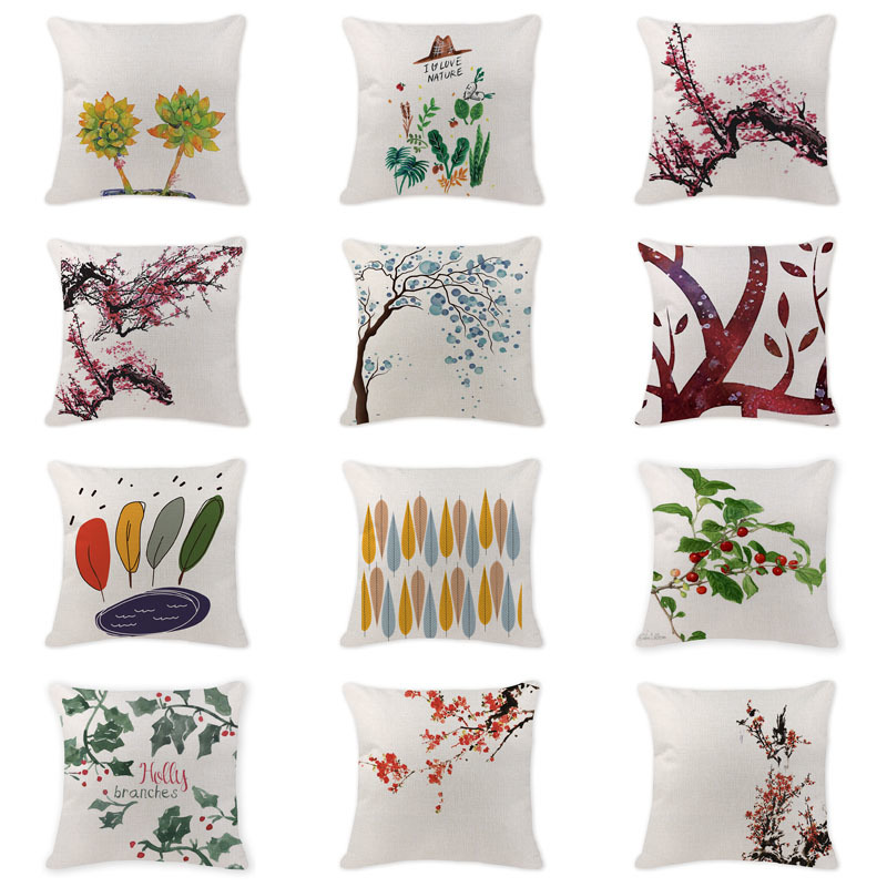 High Quality Cushion Cover Oriental Plum Blossom Pillowcases Gaming Chair Cotton Linen Home Decor Sofa Scandinavian Throw Pillow