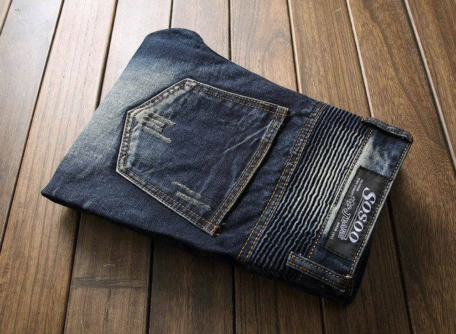 Newsosoo Men's Pleated Biker Jeans Pants Slim Fit Brand Designer Motocycle Denim Trousers For Male Straight Washed Multi Zipper 5
