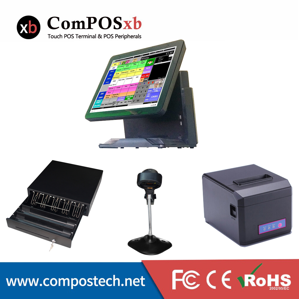 Whole Set Windows Pos Machine 15'' Touch Screen All In One POS System/Cash Register/Cashier POS most complete supermarket pos system touch pos all in one cash register machine with scanner printer cash drawer display msr