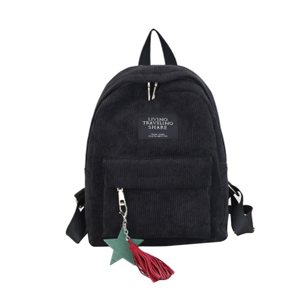 Women's Fashion Canvas Tassel School Bags Travel Backpack Black Bag For Women  Backpack #yl1 #5