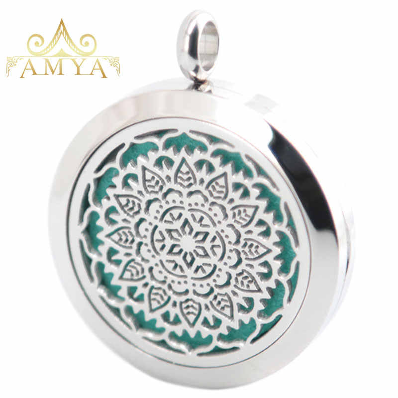 AMYA Silver Jewelry Flower Dragonfly Horse Aromatherapy Essential Oils Stainless Steel pendant Perfume Diffuser Necklace Locket