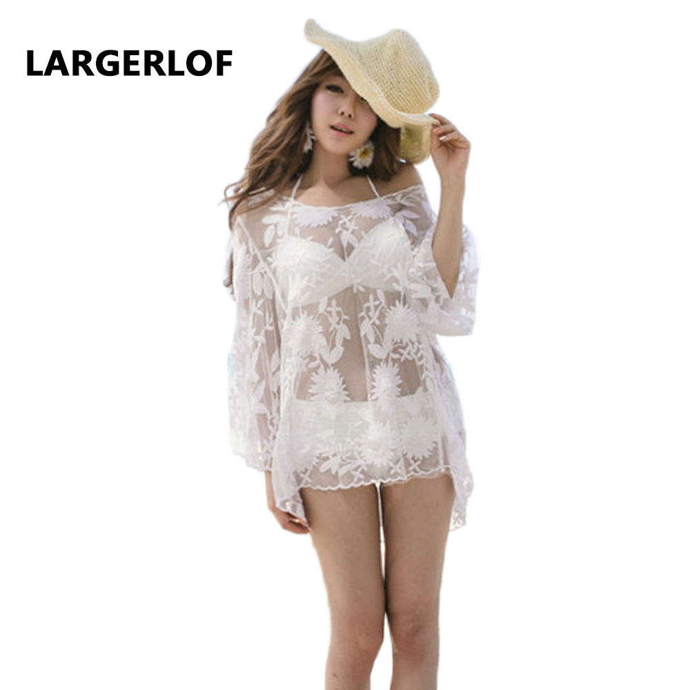 Bathing Suit Cover Ups Women Beach Sarong Transparent Sexy White Beach Tunic Swim Cover Up For Women BK27103