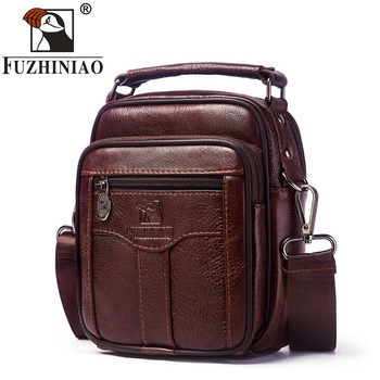 FUZHINIAO Genuine Cow Leather Messenger Bag Men Handbag Chest Crossbody Shoulder Bag Tas Business Small Male Bolsas Sac Brown
