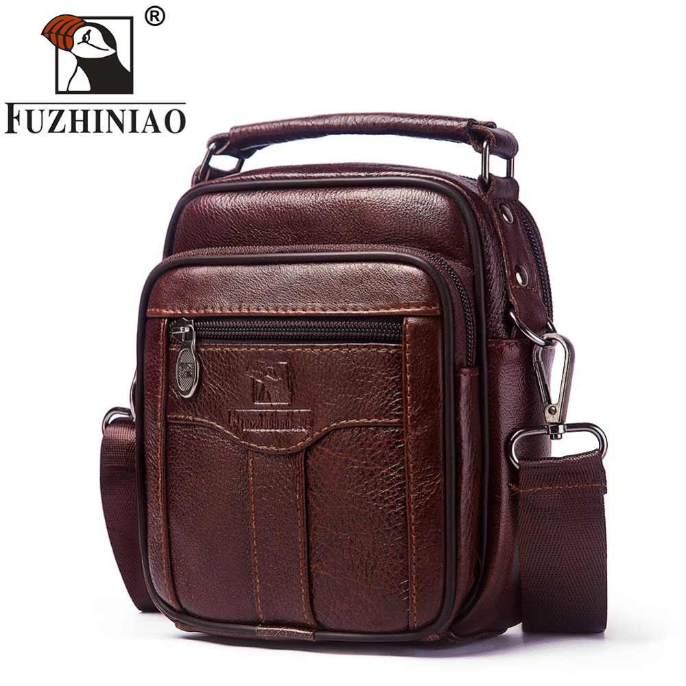 FUZHINIAO Genuine Cow Leather Messenger Bag Men Handbag Chest Crossbody Shoulder Bag Tas Business Small Male Bolsas Sac Brown