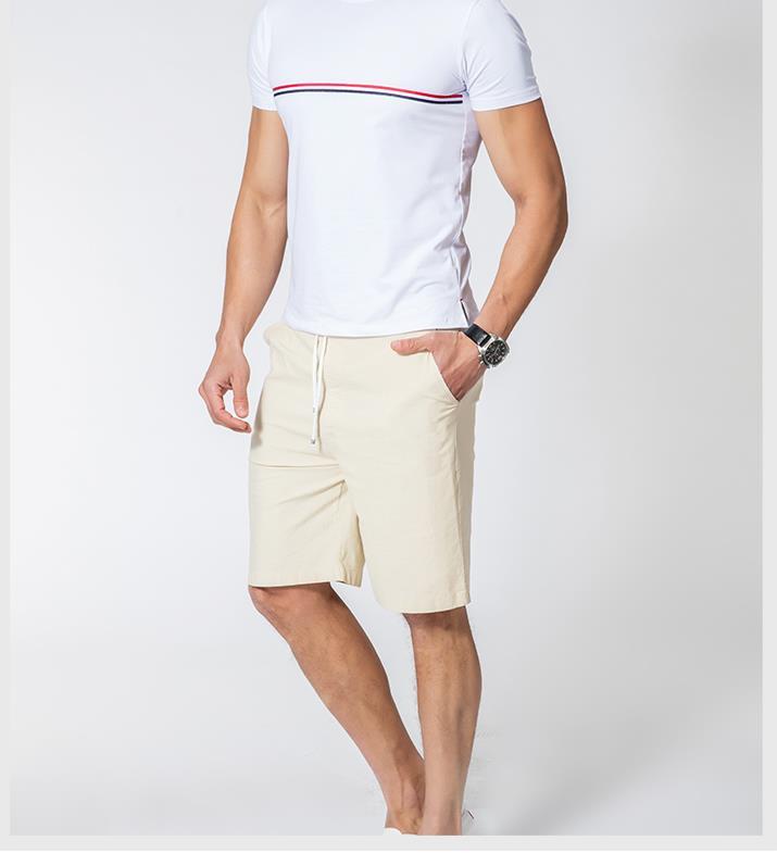 Мужские летние плюс Размеры эластичный пояс середине Повседневное Капри прямого кроя человек дышащий Лен свободные штаны Для мужчин более Размеры d обтягивающие брюки