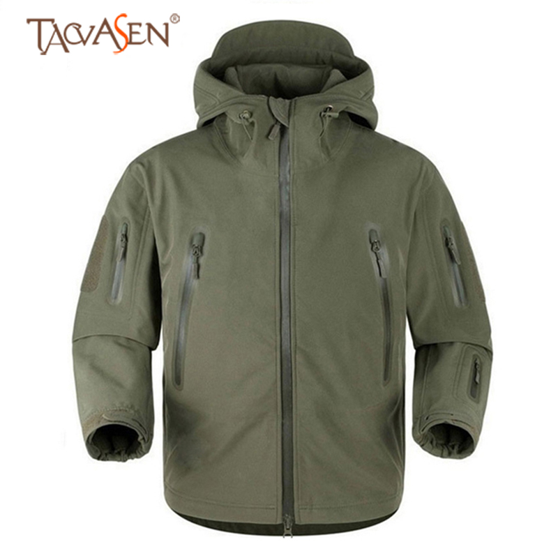 TACVASEN Softshell Jacket Men Army Tactical Fleece Jacket Multi pocket Windproof Hiking Jackets Outdoor Sports Heated