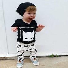 2017 boys girls clothes sets kids Batman pattern t shirts +cartoon pants children fashion suits baby boys clothing sets