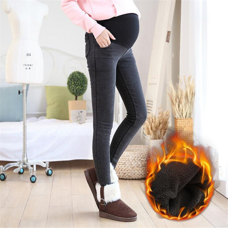 Winter Warm Thick Cotton Jeans Women Water Washed Maternity Jeans Plus Size M-XXL Pencil Pants Pregnant Trousers Female 2018 New