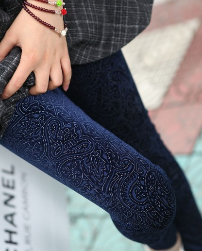 Hot Sale Womens Fashion Carved Pattern Pleuche Slim   Leggings   Pants For Ladies Long Skinny Pencil Trousers Drop Shipping