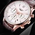 Роскошные спортивные часы для мужчин GUANQIN  многофункциональные кварцевые часы  хронограф  календарь  24 часа  секундомер  кожаный ремешок  ...
