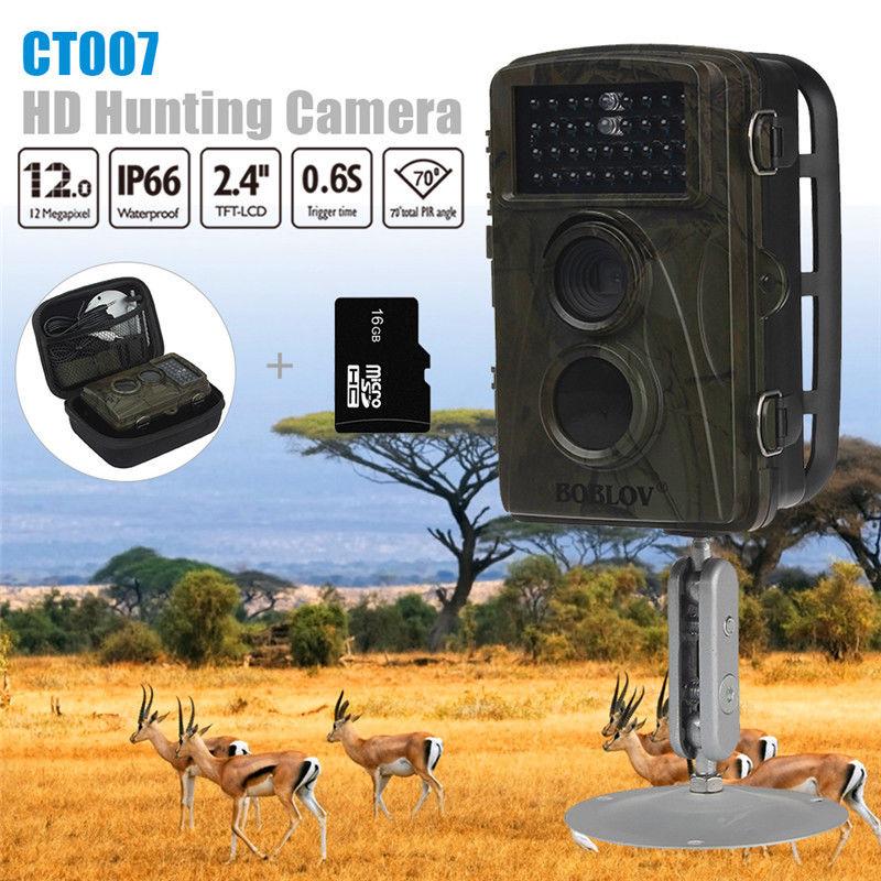 BOBLOV CT007 1080P 12MP 940nm Hunting Scouting Trail Camera Game Wildlife 34 PCS IR LED Night Vision Free Bag and 16GB Card bestguarder sy 007 360 degree wireless hunting trail