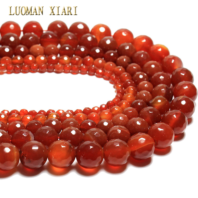 Dependable Wholesale New Faceted Red Agat Natural Stone Beads For Jewelry Making Bracelet Diy Material 4/ 6/8/10/12 Mm Strand 15.5 Nourishing The Kidneys Relieving Rheumatism Beads
