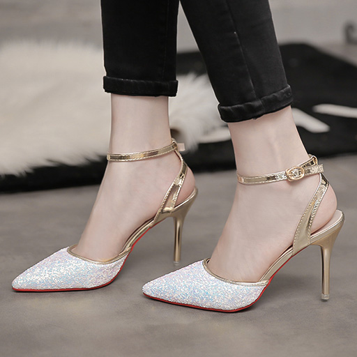 b2399ff1ca Summer Style High Heels Sandals Bling Pumps Cover Toe Sequined Cloth Women  Shoes Sexy Dress Shoes sandalias Zapatos Mujer 6307