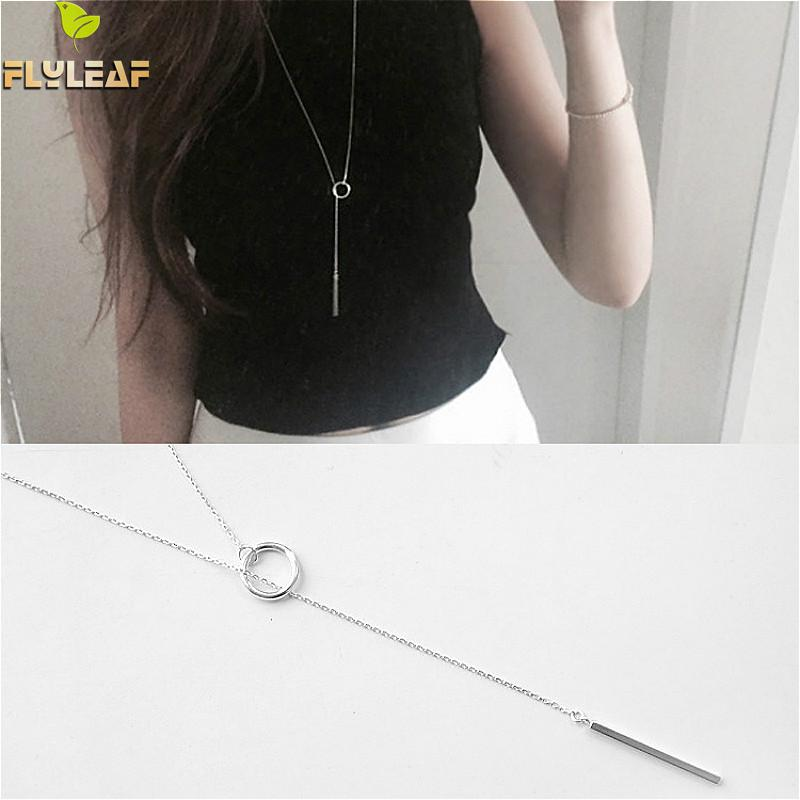 100% 925 Sterling Silver Jewelry Geometric Circle Square Bars Long Tassel  Necklaces & Pendants Flyleaf Simple Fashion Femme