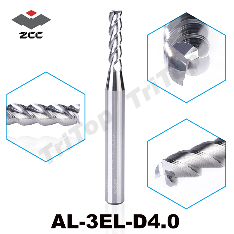 2pcs/lot  ZCC.CT AL-3EL-D4.0  solid carbide 3 flute end mill extension cutting edge 4mm  for aluminium cnc milling tool ryad mogador al madina ex lti al madina palace 4 агадир