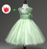 Petits enfants de mariage partie de bal robes enfants Filles nouveau mignon paillettes party girl robe fruit vert lavande fleur fille robe