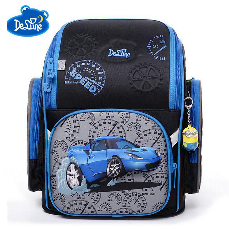 Children Cartoon Schoolbags Delune 3D Bear Flower Racing Car Girls Boys School Bags Kids Foldable Orthopedic School Backpacks