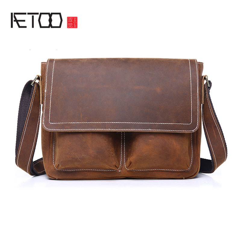 AETOO The new retro men Messenger bag Europe and the United States fashion mad horse leather leather men bag men shoulder bag europe and the united states classic sheepskin checkered chain tide package leather handbags fashion casual shoulder messenger b
