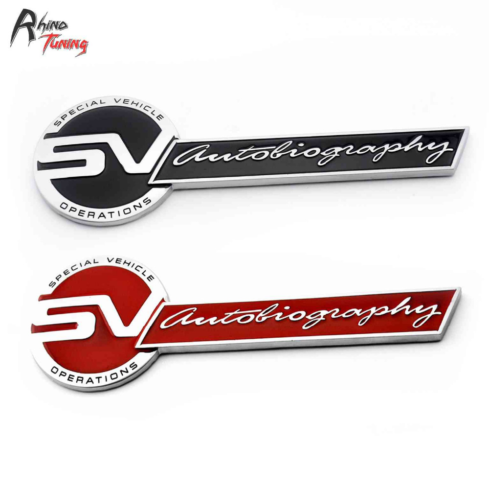 Rhino Tuning Special Vehicle Operations Autobiography Emblem Car Badge Auto Styling Metal Sticker For Range HSE Dynamic 898 auto chrome camaro letters for 1968 1969 camaro emblem badge sticker