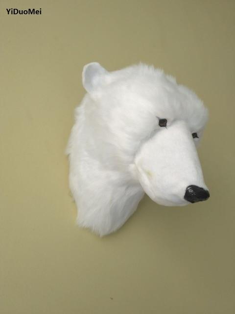 large 19x13x18cm white polar bear head model polyethylene furs