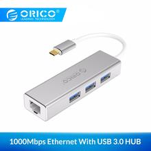 ORICO USB Ethernet Type C to RJ45 HUB for Laptop Mobile Phone Aluminum Alloy Adapter Network Card Lan