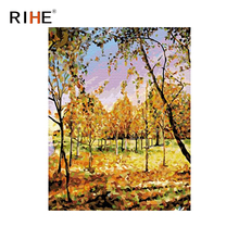RIHE Fall Tree Diy Painting By Numbers Abstract Woods Oil Painting On Canvas Cuadros Decoracion Acrylic Wall Picture Home Decor rihe fall park diy painting by numbers chair woman oil painting on canvas cuadros decoracion acrylic wall picture home decor
