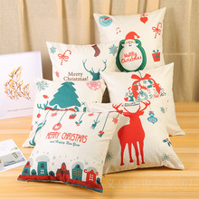 Classical White Red Pillow Case Home Decoration Soft Cotton And Linen Cover Square Christmas Day Cushion 45*45Cm
