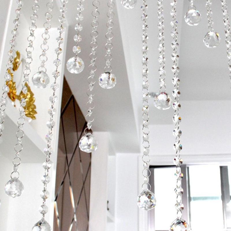 20 metrów 30mm szkło kryształowe ośmiokątne koraliki łańcuchy kryształ szklana wisząca kryształ nici na dekoracje ślubne w Figurki i miniatury od Dom i ogród na  Grupa 1
