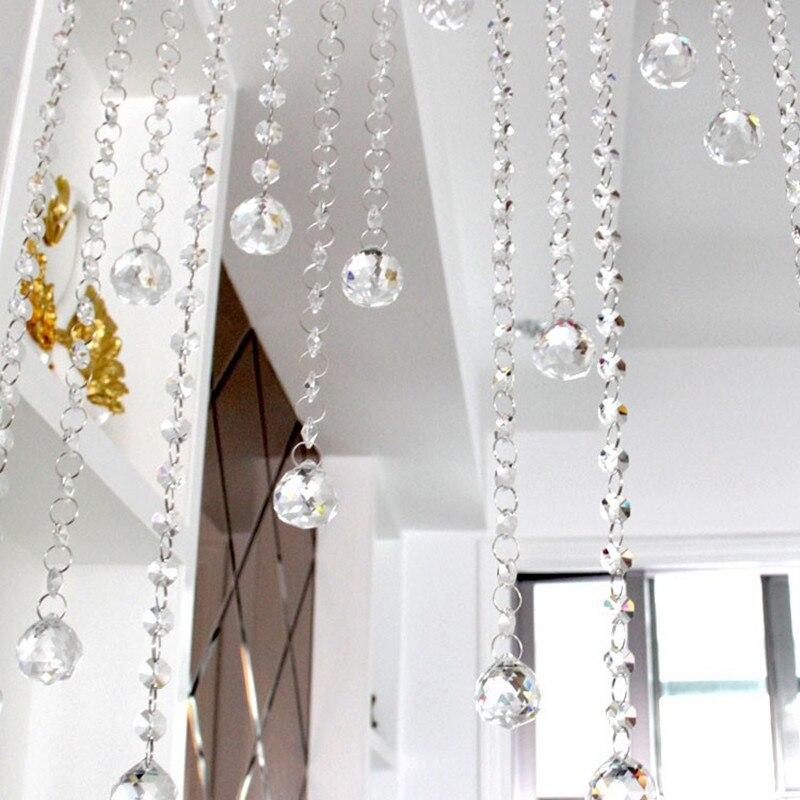 Ev ve Bahçe'ten Heykelcikler ve Minyatürler'de 20 metre 30mm Kristal Cam Sekizgen Boncuk Zincirleri Kristal Asılı Cam Kristal Tellerinin Düğün Centerpiece Dekorasyon için'da  Grup 1