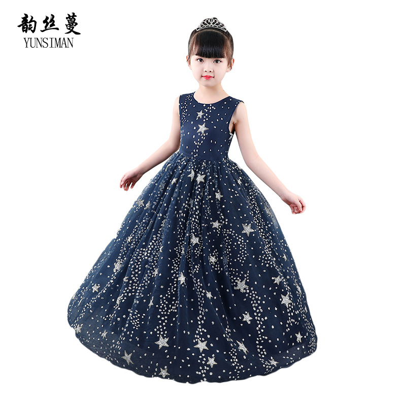 Children's Evening Long Dresses Baby Girls Dark Blue Starry Sky Print Mesh Lace Party Princess Dress for 4 to 14 Y Kids 51C1 20 pcs lot 2sa817 y a817 y 2sa817 to 92
